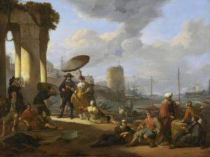 Un Port de mer en Italie by Johannes Lingelbach