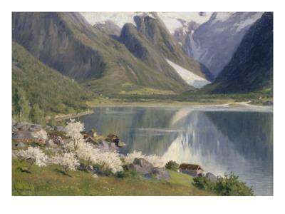 Norvège, bord d'un fjord au printemps .1896