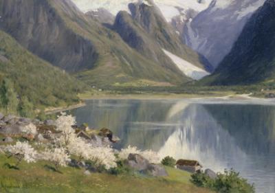 Norvège, bord d'un fjord au printemps .1896 by Johannes Martin Grimelund