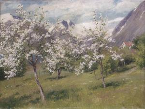 Norvège, verger en fleur (Harland) .1898 by Johannes Martin Grimelund