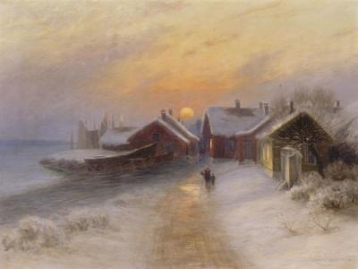 Village de pêcheur au crépuscule, Norvège.1904