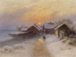 Village de pêcheur au crépuscule, Norvège.1904 by Johannes Martin Grimelund