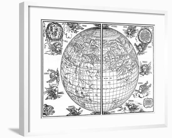 Johannes Stabius Map of the World, 1515-Albrecht Durer-Framed Giclee Print