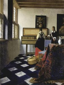 A lady at the virginals with a gentleman ('The Music Lesson'). Around 1662 by Johannes Vermeer
