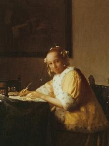 A Lady Writing, about 1665 by Johannes Vermeer