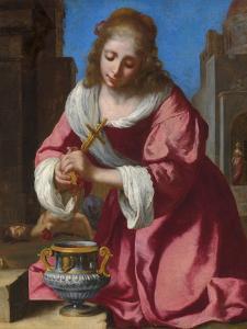 Die heilige Praxedis by Johannes Vermeer