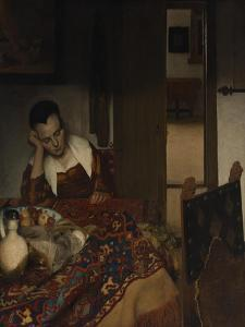 Girl asleep at a table, 1656-57 by Johannes Vermeer