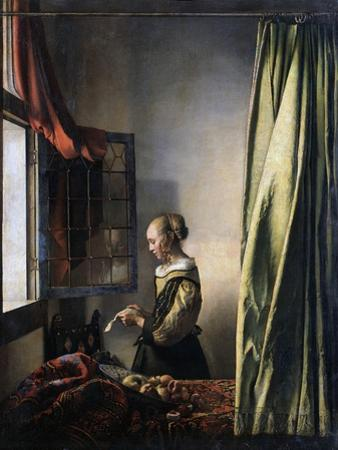 Girl Reading a Letter by an Open Window, Ca 1659 by Johannes Vermeer