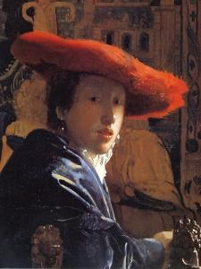 Girl with a Red Hat, C.1665 by Johannes Vermeer