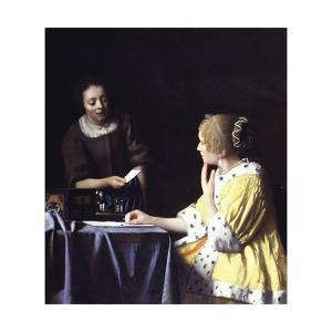 Lady with Her Maidservant Holding a Letter by Johannes Vermeer