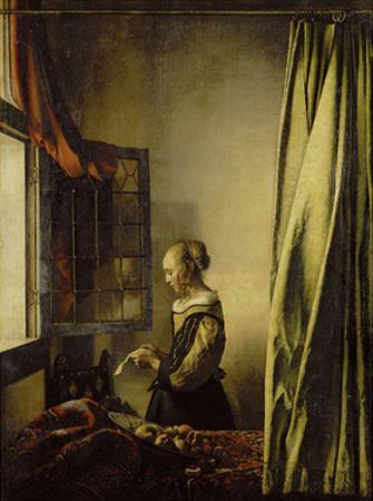 Woman Reading a Letter at an Open Window by Johannes Vermeer
