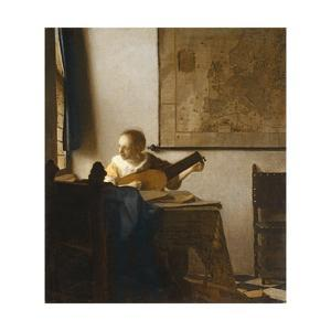 Woman with a Lute, C.1662-1663 by Johannes Vermeer