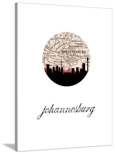 Johannesburg Map Skyline-Paperfinch 0-Stretched Canvas Print