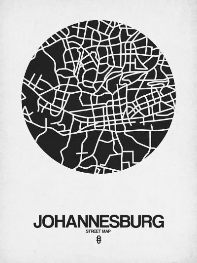 Johannesburg Street Map Black on White-NaxArt-Art Print