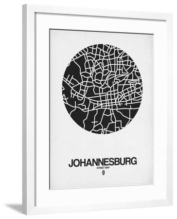 Johannesburg Street Map Black on White-NaxArt-Framed Art Print
