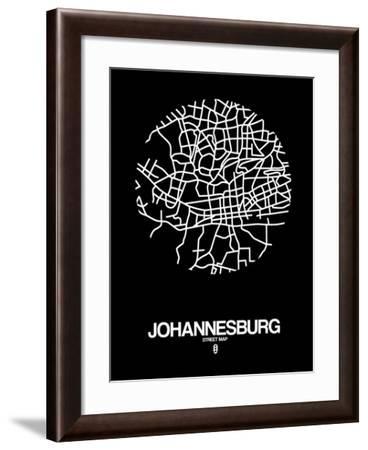 Johannesburg Street Map Black-NaxArt-Framed Art Print