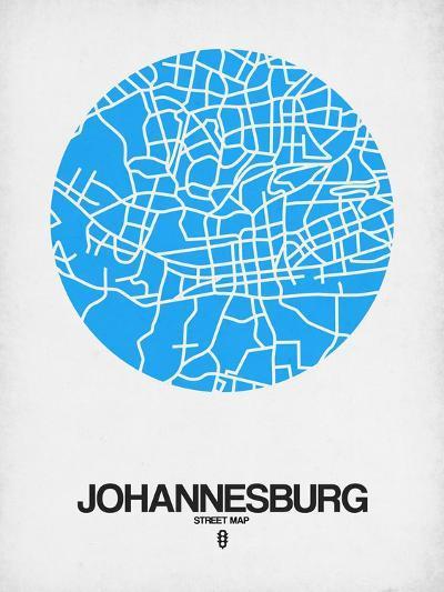 Johannesburg Street Map Blue-NaxArt-Art Print