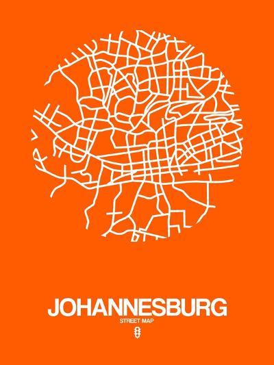 Johannesburg Street Map Orange-NaxArt-Art Print