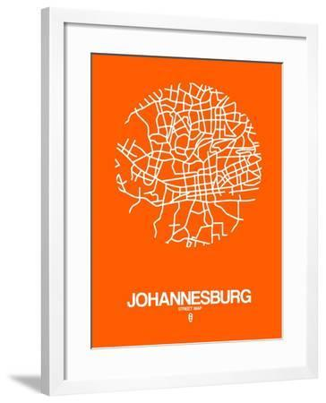 Johannesburg Street Map Orange-NaxArt-Framed Art Print