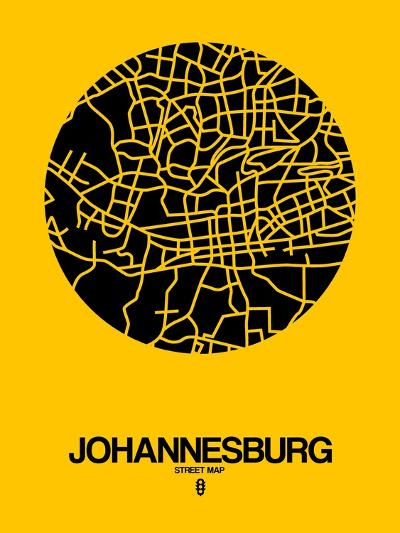 Johannesburg Street Map Yellow-NaxArt-Art Print
