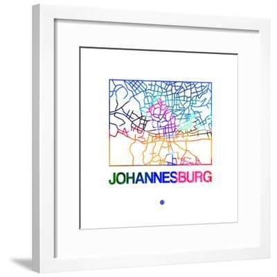 Johannesburg Watercolor Street Map-NaxArt-Framed Premium Giclee Print
