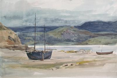 Hilly Coast Scene with Boats, 19th Century by John Absolon