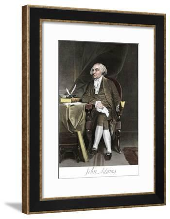 John Adams, Seated at a Desk, with His Signature--Framed Giclee Print