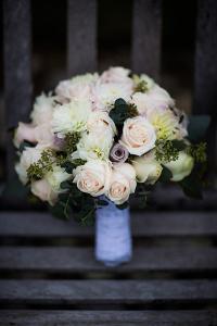Bouquet on Bench, United Kingdom, Europe by John Alexander