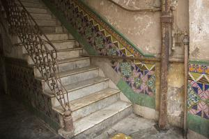 Cuba, Havana, Old Havana, Steps and Tiled Walls in Old Apartment Building by John and Lisa Merrill