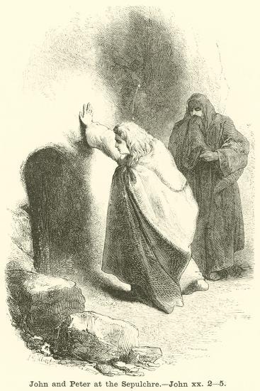 John and Peter at the Sepulchre, John, XX, 2, 5--Giclee Print