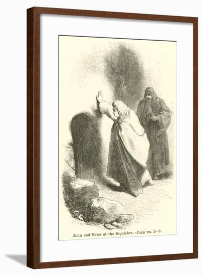 John and Peter at the Sepulchre, John, XX, 2, 5--Framed Giclee Print