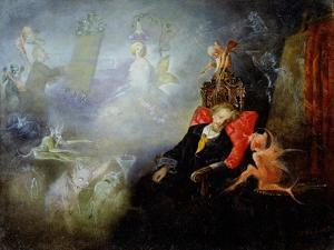 The Artist's Dream, 1857 (Oil on Millboard) by John Anster Fitzgerald