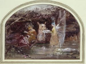 Wounded Faun (W/C on Paper) by John Anster Fitzgerald