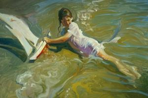 Girl with Boat by John Asaro