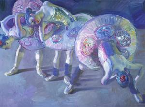 Three Dancers in Grey and Blue by John Asaro