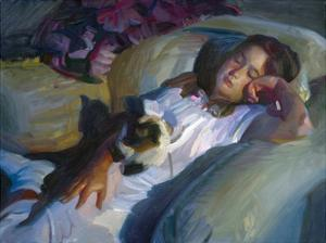 Young Girl with Cat by John Asaro