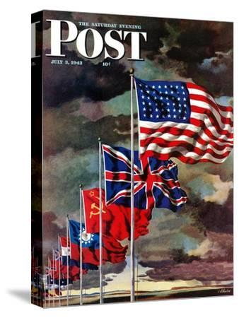 """""""Allied Forces Flags,"""" Saturday Evening Post Cover, July 3, 1943"""