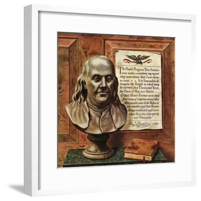 """Benjamin Franklin - bust and quote,"" January 19, 1946"