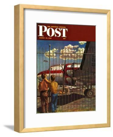 """Boys at Airport,"" Saturday Evening Post Cover, March 30, 1946"