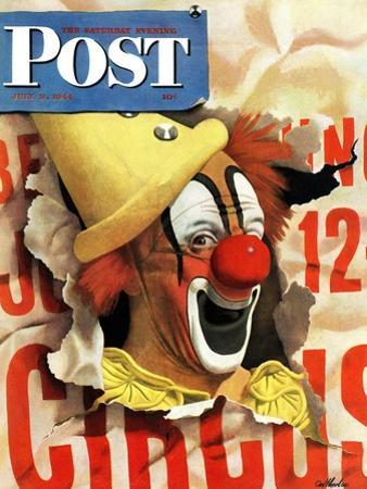 """""""Circus Clown and Poster,"""" Saturday Evening Post Cover, July 8, 1944"""