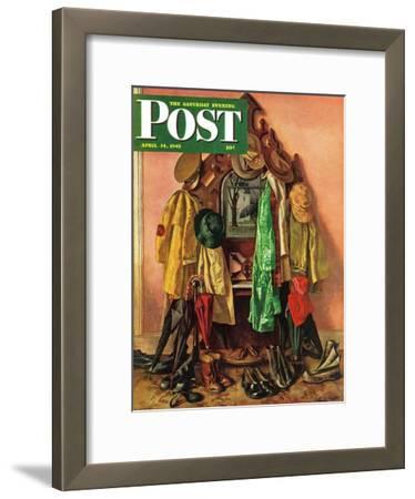 """Loaded Coat Rack,"" Saturday Evening Post Cover, April 14, 1945"
