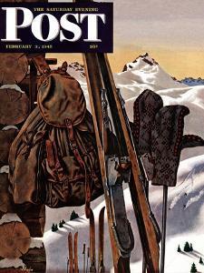 """Ski Equipment Still Life,"" Saturday Evening Post Cover, February 3, 1945 by John Atherton"