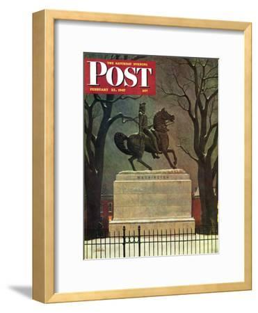"""Statue of Washington on His Horse,"" Saturday Evening Post Cover, February 22, 1947"