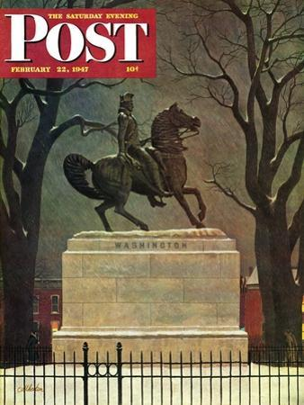 """""""Statue of Washington on His Horse,"""" Saturday Evening Post Cover, February 22, 1947"""