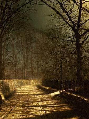 A Moonlit Lane, with Two Lovers by a Gate
