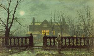 Garden in the Evening with View of an Illuminated House by John Atkinson Grimshaw