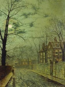 Suburban Street by Moonshine by John Atkinson Grimshaw