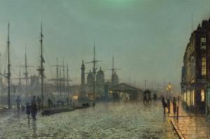 The Hull-Docks by Night by John Atkinson Grimshaw