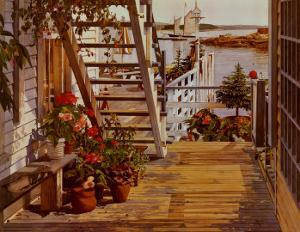 Blue Stair and Begonias by John Atwater