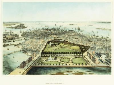 A Bird's Eye View of Boston, 1850